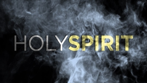Black background with the words Holy Spirit
